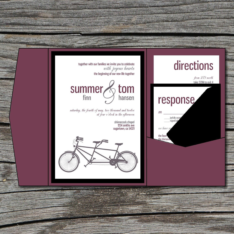 Wedding Invitation DIY Pocketfold Tandem Bike Printable