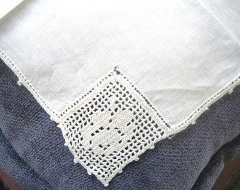 Upcycle me to ring bearer pillow,bag or bridal accessory...Antique Linen hanky, handmade Lace, Something old