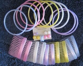 Accessory Set: MatchingBangle Bracelets, Post Earrings, Hair Combes,  30 piece Set, Hair Combs, Bracelets