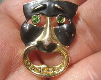 Drama Mask Brooch, Vintage Costume Jewelry, Brooch, 60s