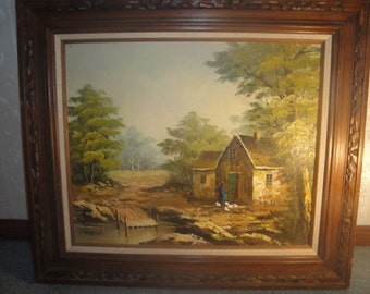 """Vintage 1930's Henry Morley """"British Farmscape Lady Feeding Chickens"""" Canvas Signed Oil Painting"""