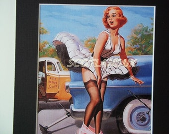 Wall art, Vintage Pin Up, Mounted print, Vintage Elvgren Print, OOPS  WHAT A PICKLE: By Elvgren