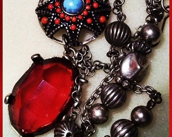 Tribal Blush : Ethnic Style Necklace  With A Steampunk Twist