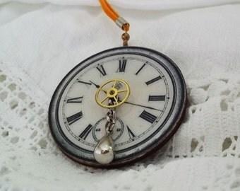 Steampunk Pendant, Victorian Ripper London Pendant, Timepiece  Pendant, Handmade Steampunk Woodcut Pendant