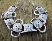 Riveted can-pull Bracelet, with washers. Recycled, Eco friendly, original design by Tinkan Designs