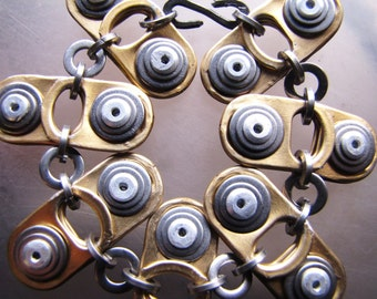 Riveted Bracelet, Recycled and Eco friendly, original design by Tinkan Designs,autumn gold