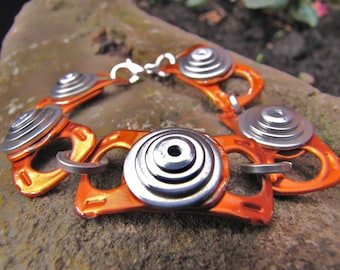 Orange Metal Bracelet, Recycled Beer Cans, Eco Friendly Jewelry, Riveted Metal Bracelet, Unisex