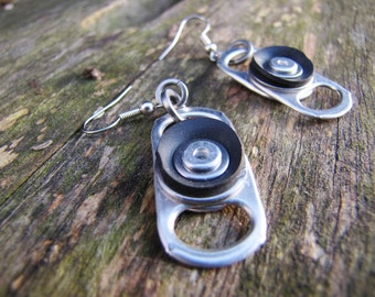 Recycled metal ring pull Earrings with recycled black rubber bicycle inner tube