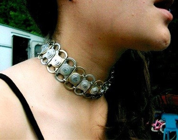 Mixed Metal Recycled Ring Pull Tab Choker Necklace - Gold color