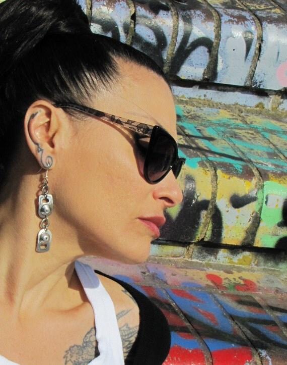 Recycled ring pull long dangle Earrings