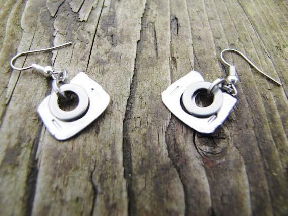 Mixed metal Upcycled Recycled Earrings, Dangle Earrings, Ring Pull Earrings