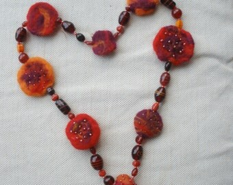 SALE reduced was 49 now 35 - 3 day offer -  Chunky lagenlook orange & red necklace - felted wool and handmade glass beads ......Art to Wear