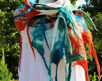 Avante garde - quirky tassled Nuno Felted silk and wool lagenlook shawl wrap MADE TO ORDER - teal, orange, duck egg blue & white