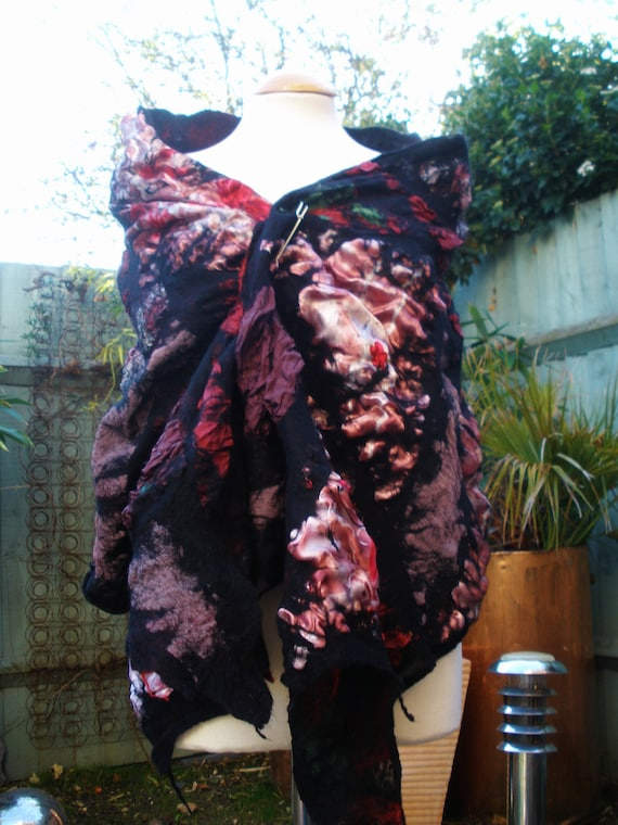 Nuno Felted shawl - Black pink and red silk & wool wrap scarf