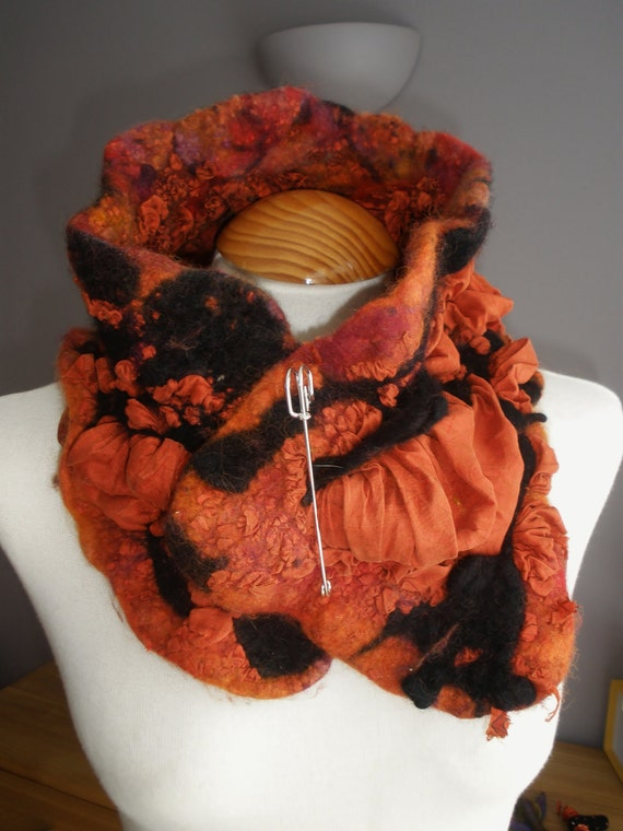 Orange Nuno Felted shibori wool silk cowl collar snood neckwarmer  - lagenlook art to wear