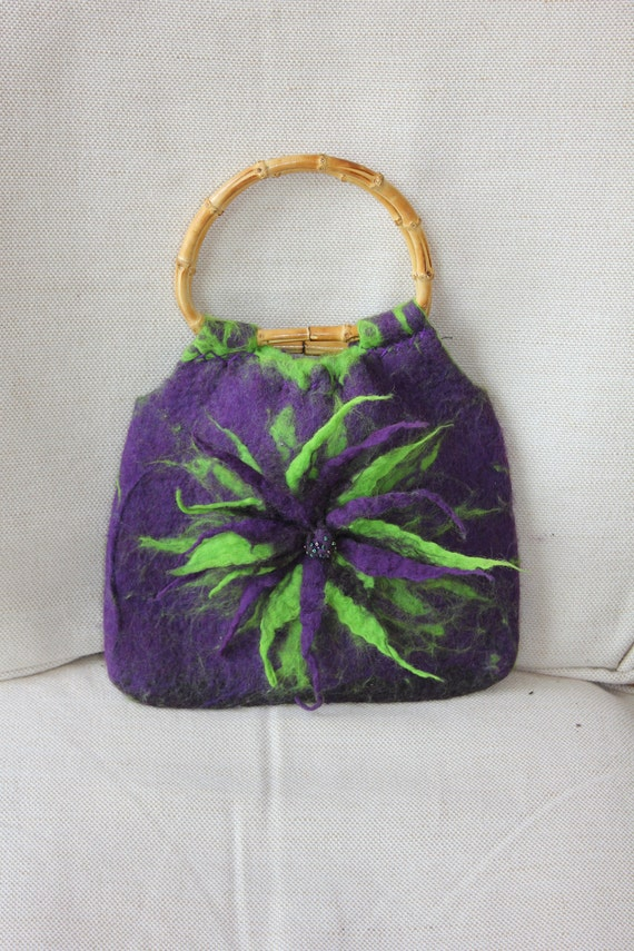 Purple and Green felted wool bag purse handbag with felted flower emblem & bamboo handles...Art to Wear