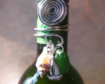 Wine Bottle Topper - Sailboat Wine Bottle Topper Wine Charm And Seaglass Shells Beach Glass Jewelry, Handmade Custom Jewelry