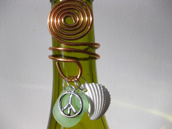 Green Peace Bottle topper charm and seaglass shells