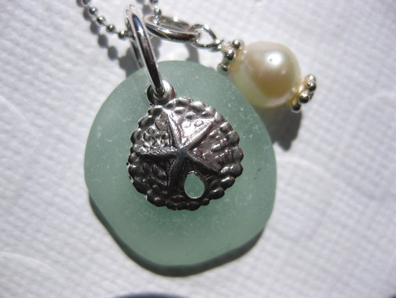 SS Seafoam Seaglass Sand dollar necklace