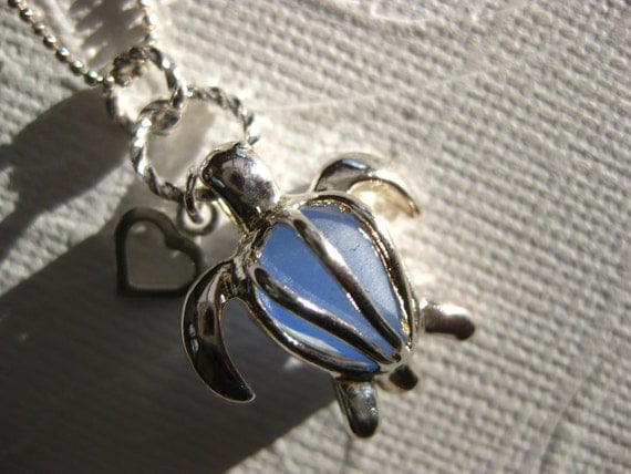 I Love Cornflower Sea turtle locket and  SS chain