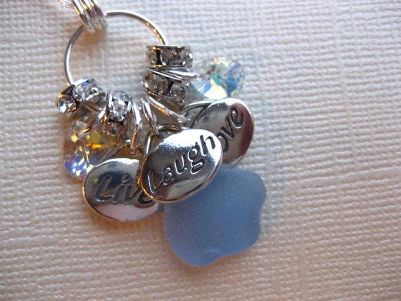 Live laugh love Cornflower Seaglass necklace