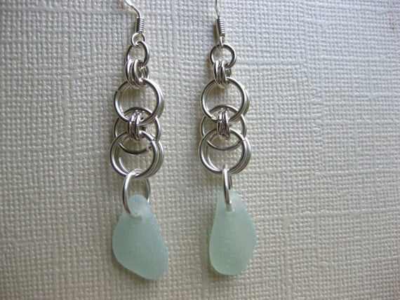 Sterling Silver Seafoam Seaglass Earrings