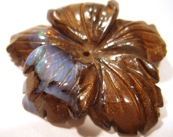 Boulder opal - Large Focal Bead Flower -  Australian Boulder Opal Perfect for Wire Wrapping