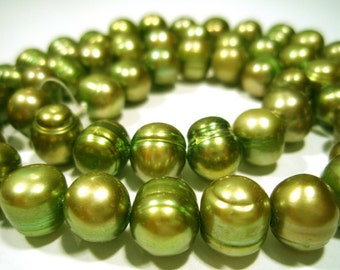 Green Gold Fresh Water Cultured Pearls  -  Side Drilled  Barrel Shape