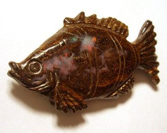 Boulder Opal Fish - 3D Carved - RARE Reddish Magenta flashing - Natural Australian opal