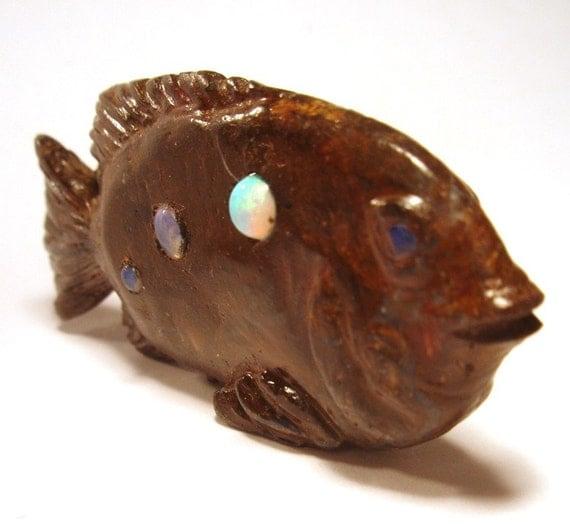 Boulder Opal Fish - 3D Carved Australian