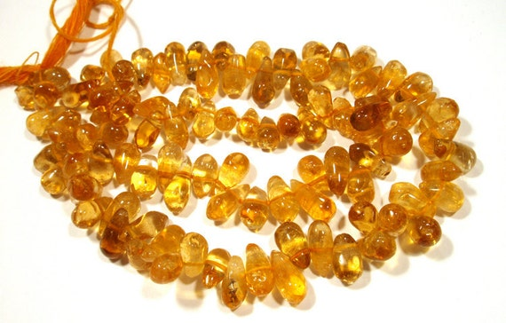 reserve for Benessa Citrine Beads Strand Smooth Briolette Drops 16 Inch Strand