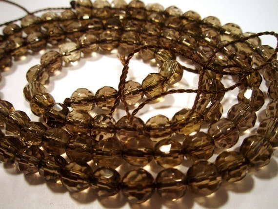 Smokey Quartz Strand Faceted  4mm Round Beads - AAA Quality Transparent