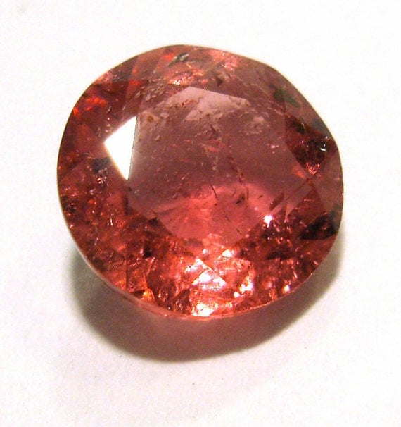 Rubellite Engagement Ring - PINK Tourmaline Brilliant Cut Gem Stone - Bright Color 7.25mm