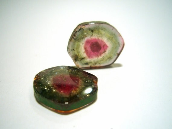 RARE Watermelon Tourmaline Slices  Cabochon Pair for Earrings - True Natural Color Gem Stone