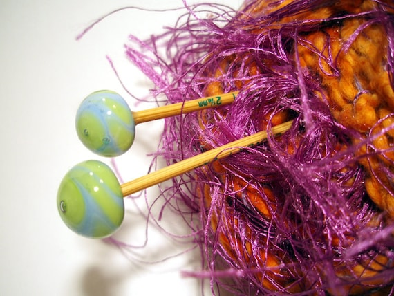 Bamboo Knitting Needles  Handmade by Lisajoy Sachs One of a Kind with Apple Green and Sky Blue Lampwork Glass Balls
