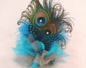 Peacock Feather Corsage for Prom or Wedding in choice of colors to match dress