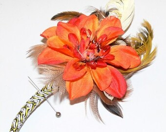 Boutonniere Pin in orange melon silk flower with coordinating feathers for Prom, Wedding, Father's Day or Special Occasion