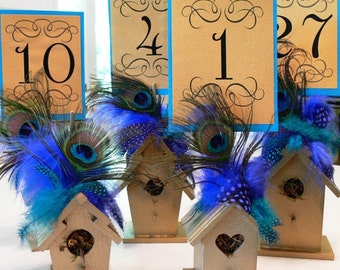 Table Number holder, Wood Birdhouse, Shabby Chic, with choice of colors, flowers, peacock, and coordinating feathers