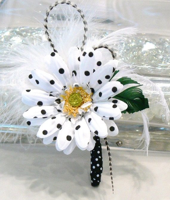 Black and White Polka Dot Flower with Feathers Boutonniere Pin or Facinator