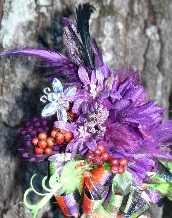 BeWitching Autumn Corsage and Boutonniere or Pin Set in purple, lavender, orange, black and green