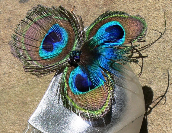 Peacock Feather Shoe clips with furl and beading in blue, green, aqua, teal, gold and brown