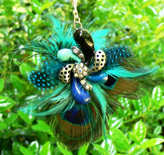 Peacock Feather Pendant Charm Necklace with Aqua, Teal, Turquoise, Cobalt, and Black with coordinating Feathers
