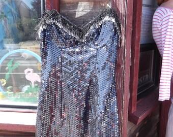 1980s/90s Sequined Dress w Fringe & Beads,  sz Sm