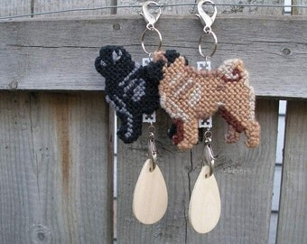 Pug dog crate tag or home decor in plastic canvas hang anywhere, Magnet option