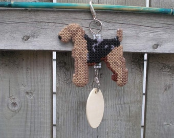 Airedale Terrier dog art home decor hang anywhere Crate Tag in plastic canvas, Magnet option