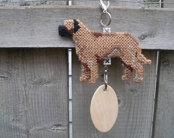 Mastiff decorative collectible dog art hang anywhere crate tag, hand stitched, hanger, Magnet option