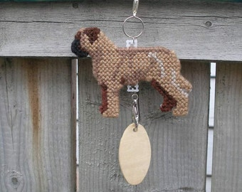 Bullmastiff crate tag hang anywhere decorative display hand stitched by dog artist, Magnet option