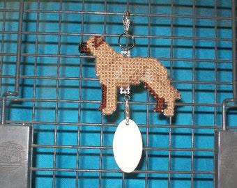 Rhodesian Ridgeback crate tag dog art home decor, hand stitched needlepoint hanger, Magnet option