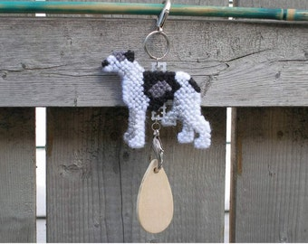 Whippet dog home decor hang anywhere crate tag, Magnet option, hand stitched needlepoint art kennel charm