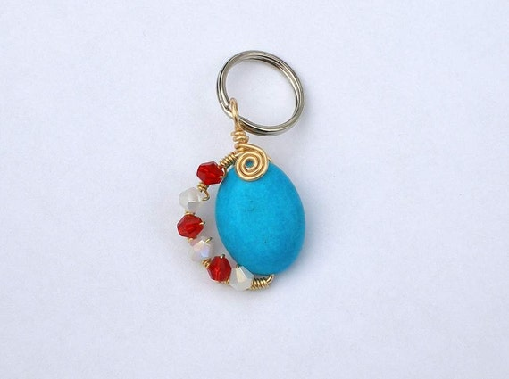 Patriotic Pride - dog pet collar charm or zipper charm, red white and blue jewelry pendant